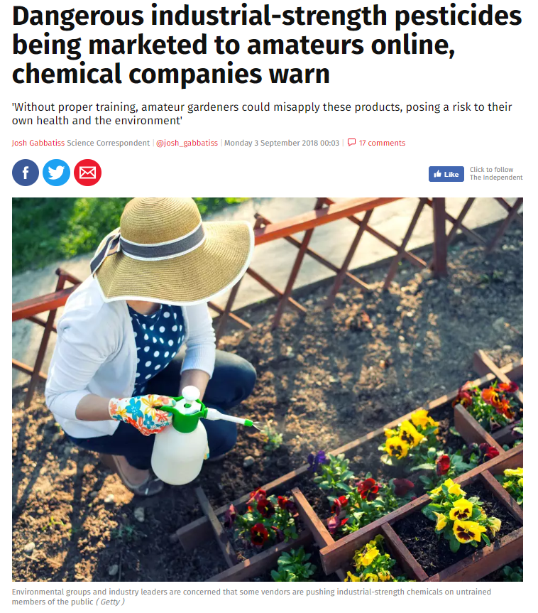 Dangerous industrial-strength pesticides being marketed to amateurs online