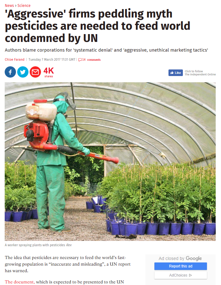 Independent - Aggressive firms peddling myth pesticides are needed to feed world condemned by UN