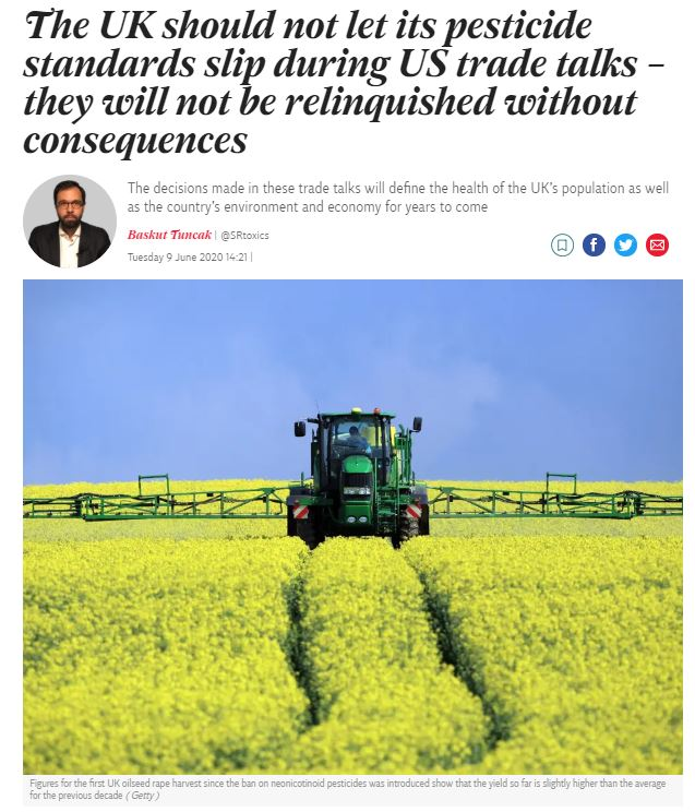 Independent: The UK should not let its pesticide standards slip during US trade talks by Baskut Tuncak