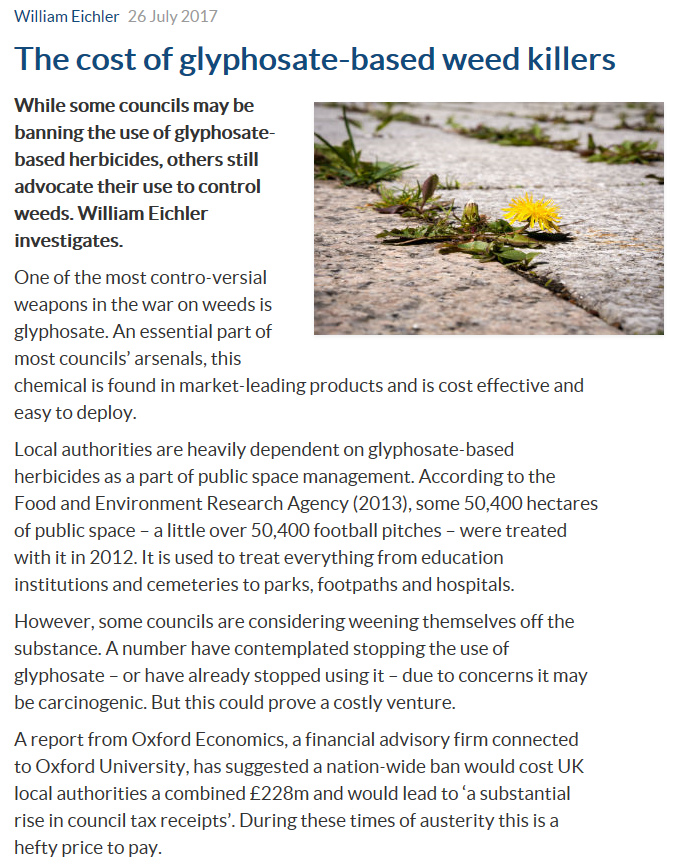 LocalGov - The cost of glyphosate-based weed killers