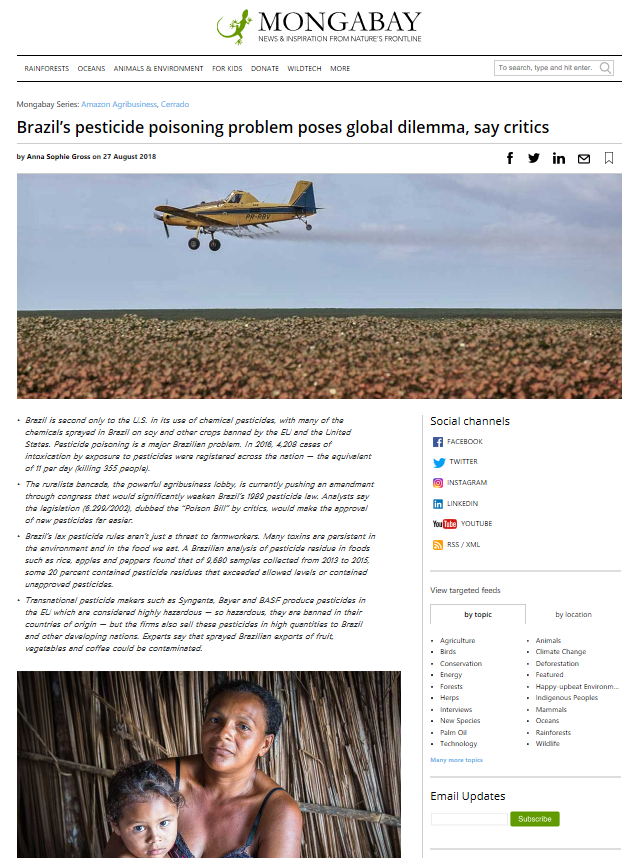 Mongabay - Brazils pesticide poisoning problem