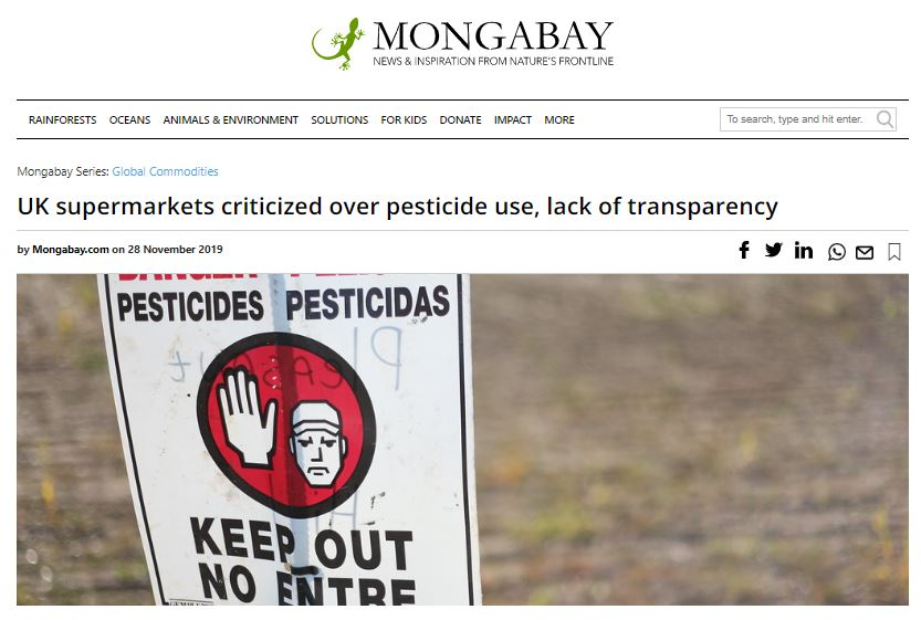 Mongabay - 28th November 2019 - UK supermarkets criticized over pesticide use