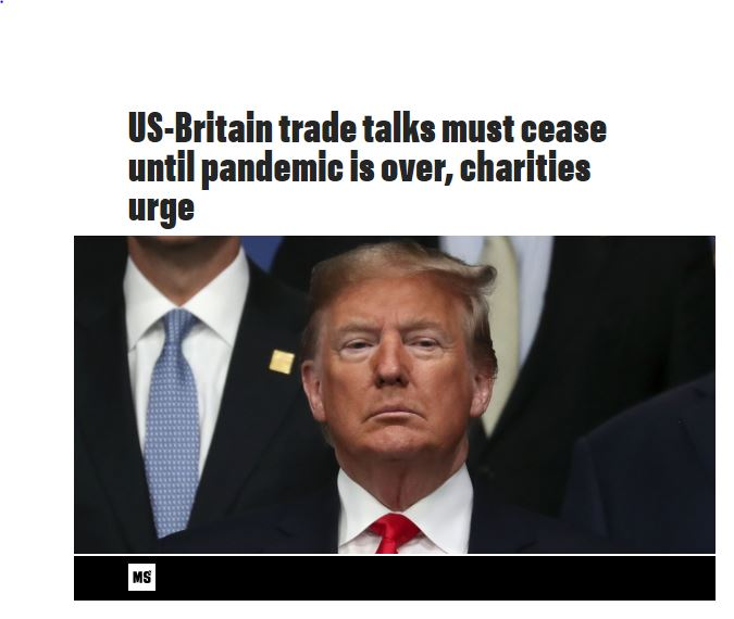 Morning Star - 26th March 2020 - US-Britain trade talks must ceased until pandemic is over