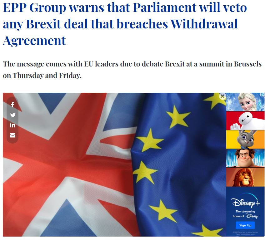 Parliament Magazine - Parliament will veto Brexit deal that breaches withdrawal agreement