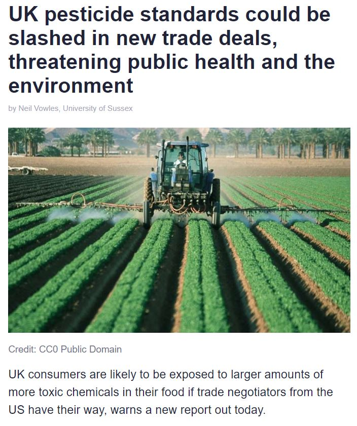 Phys.Org: UK pesticide standards could be slashed in new trade deals