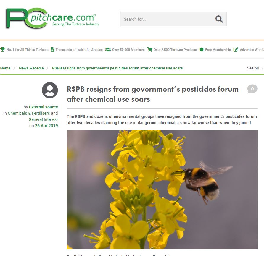 PitchCare - RSPB resigns from government's pesticides forum after chemical use soars