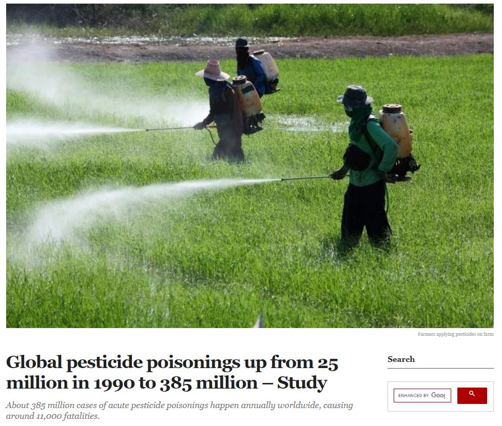 Premium Times: Global pesticide poisonings up from 25 million in 1990 to 385 million