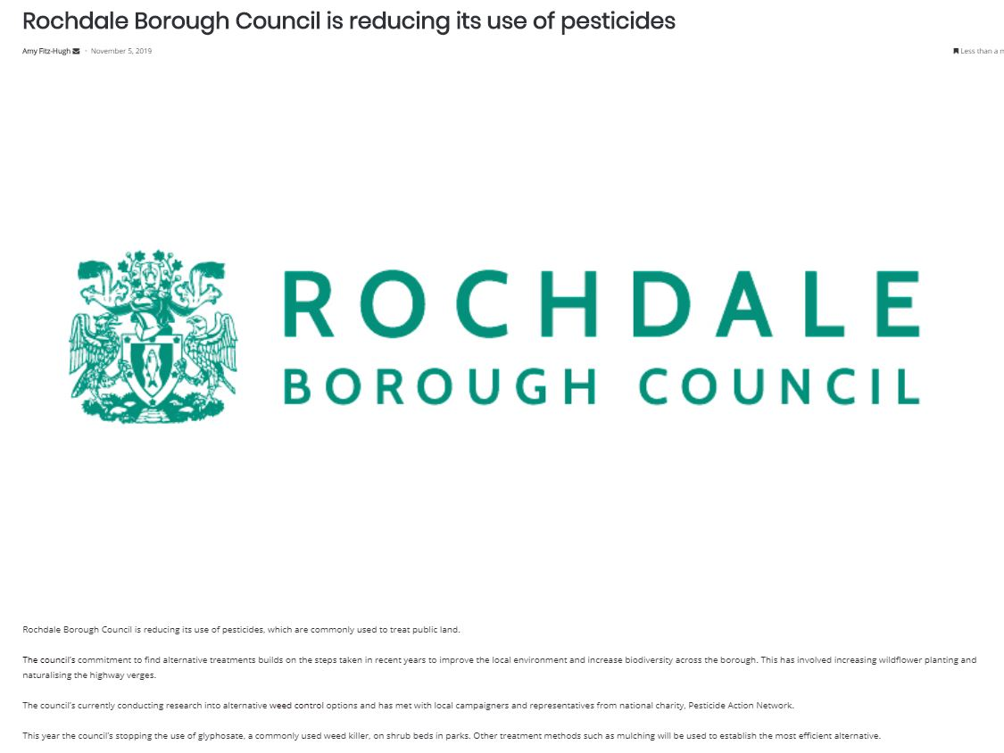 Pro Landscaper - Rochdale Borough Council is reducing its use of pesticides