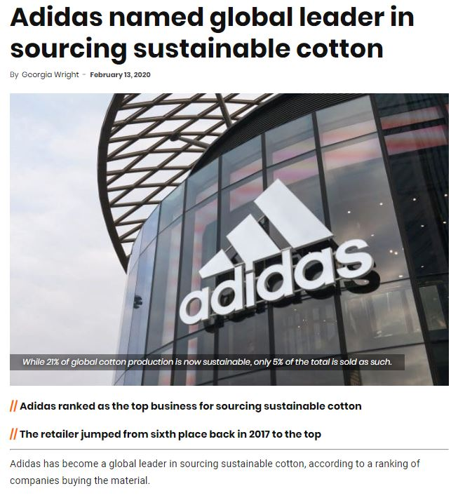 Retail Gazette: Adidas named global leader in sourcing sustainable cotton