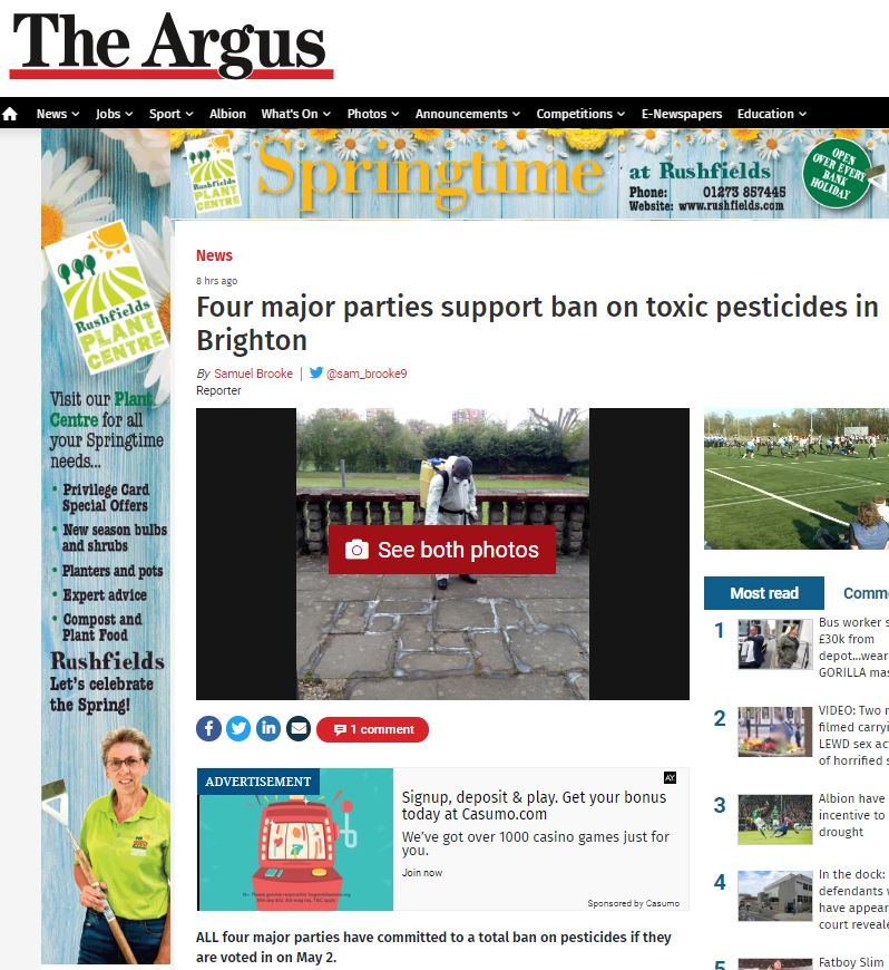 The Argus - Four major parties support ban on pesticides in Brighton & Hove