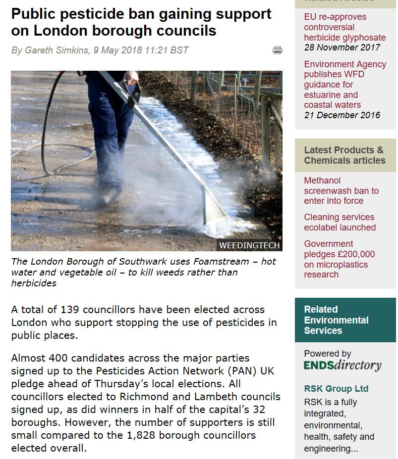 The ENDS Report - Public pesticide ban gaining support on London borough councils