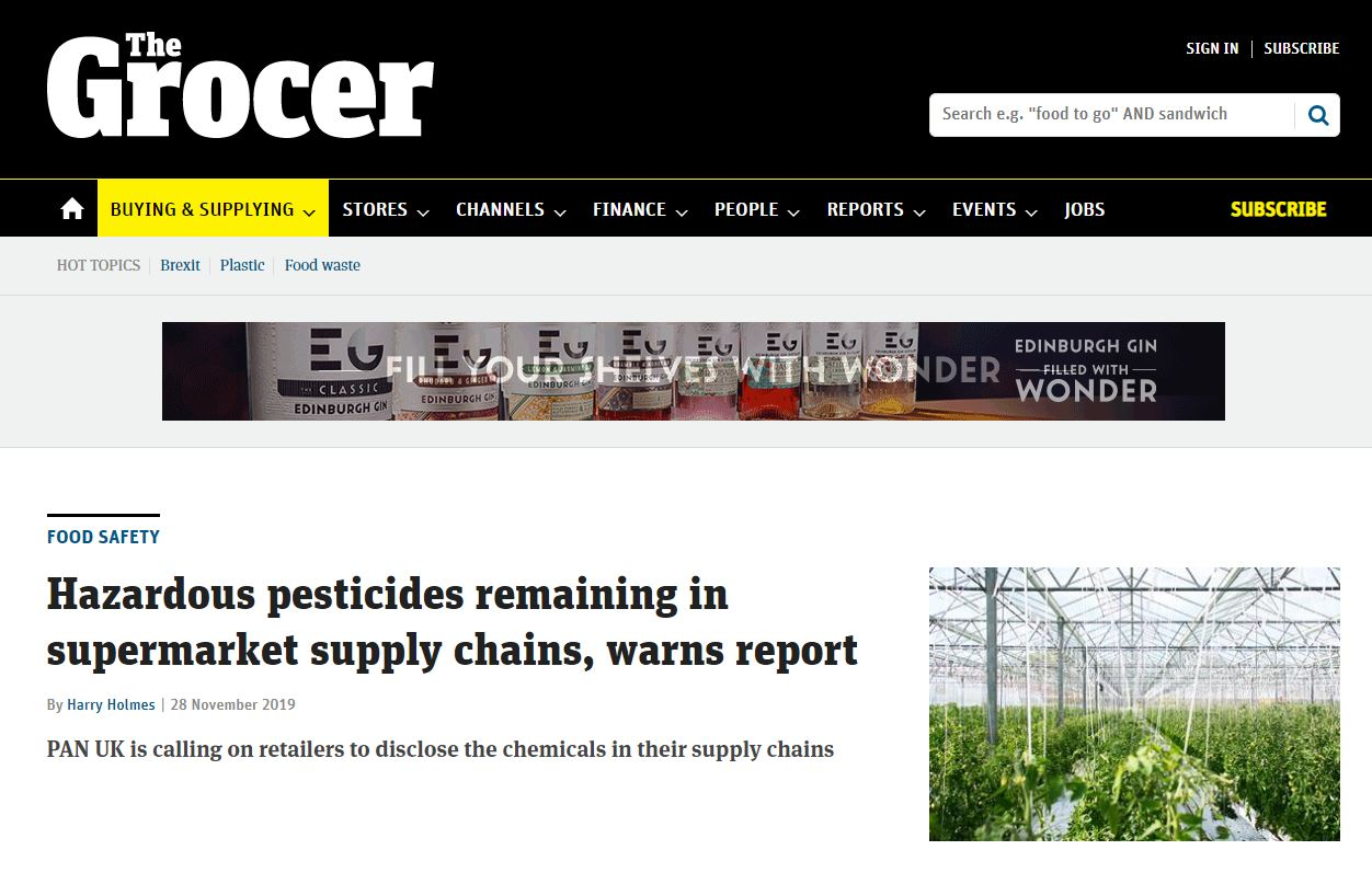 The Grocer - Hazardous pesticides remaining in supermarket supply chains