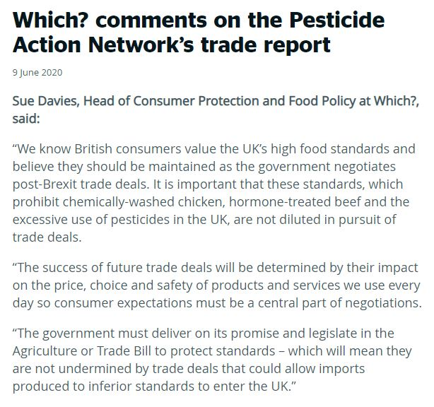 Which?: Comments on Pesticide Action Network's trade report