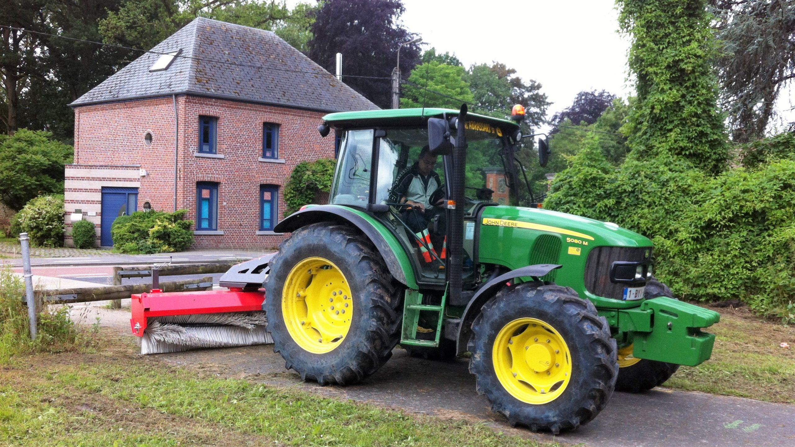Tractor Mounted Sweeper on John Deere