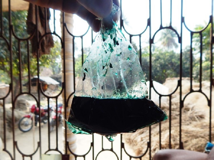 Paraquat sold in a plastic bag in India - credit PAN India 2014