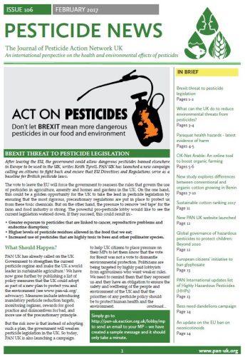 Pesticide News Issue 106 - February 2017