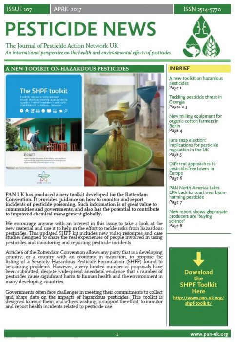 Pesticide News Issue 107 - April 2017