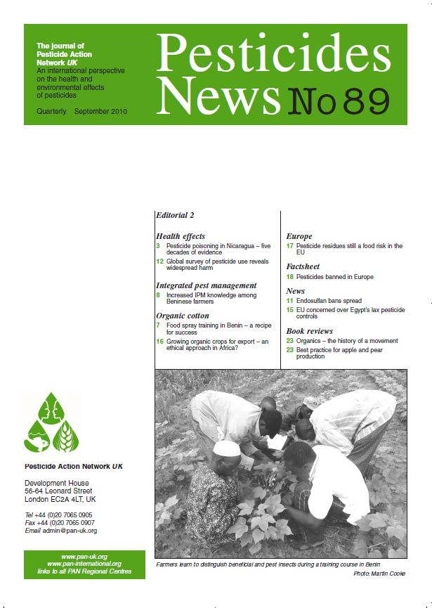 Pesticide News Issue 89, September 2010