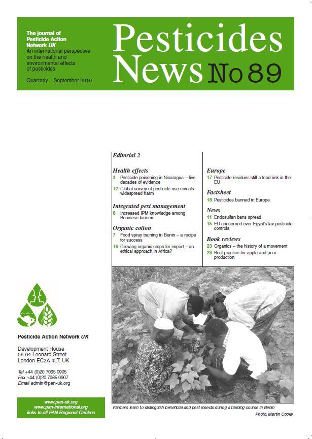 Pesticide News Issue 89, September 2010
