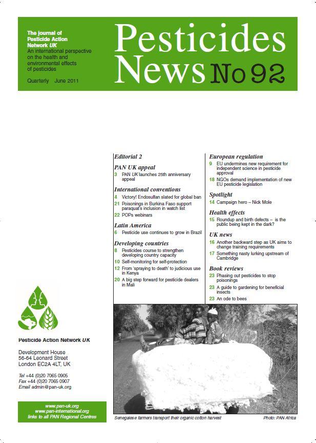 Pesticide News Issue 92, June 2011