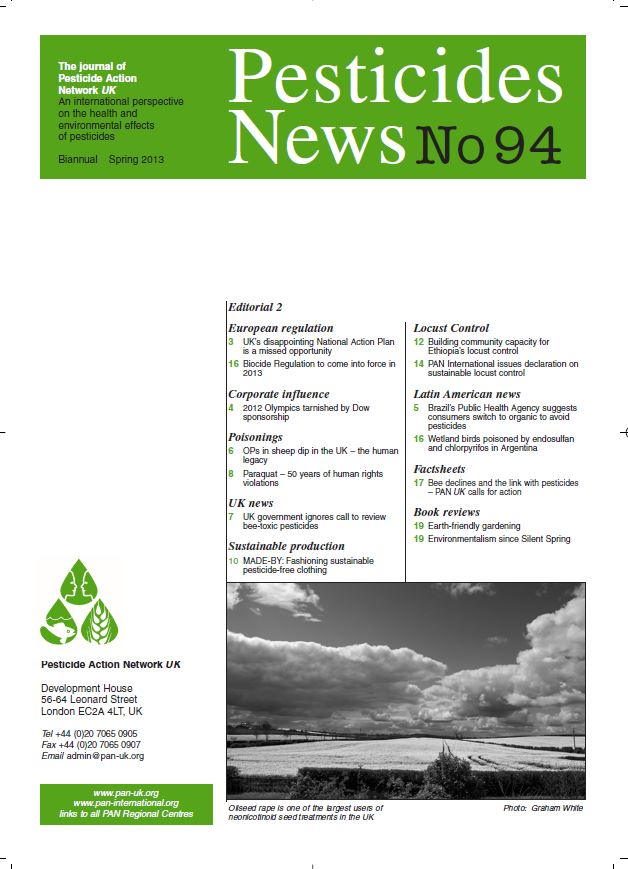 Pesticide News Issue 94 - Spring 2013