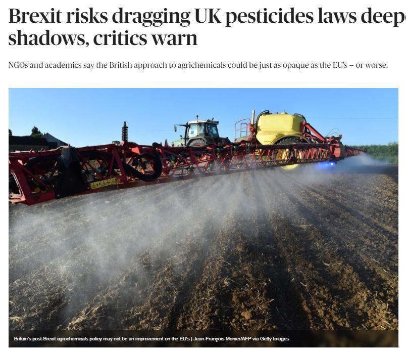 Politico - Brexit risks dragging UK pesticides laws deeper into shadows