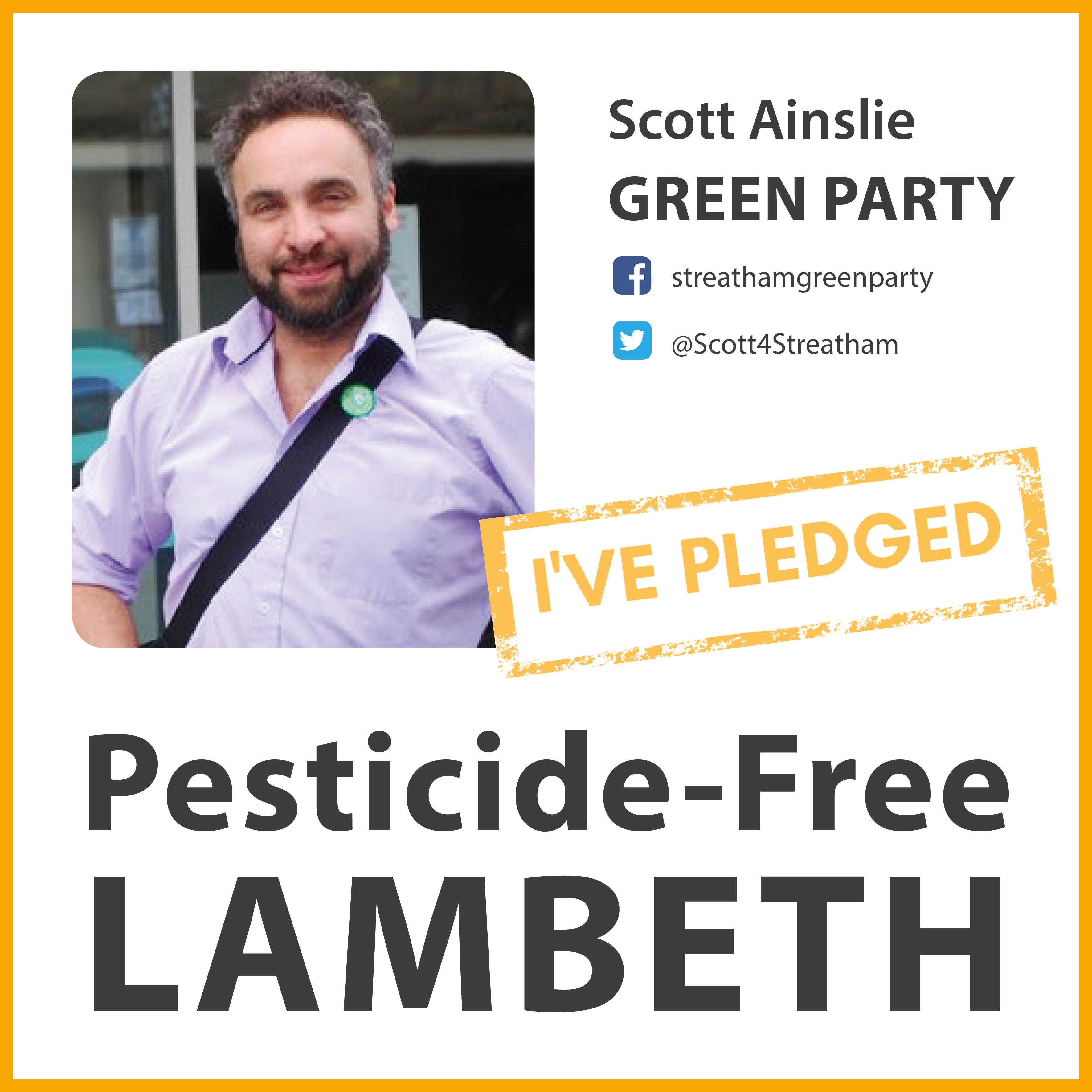 Scott Ainslie has taken the pesticide-free pledge in Lambeth