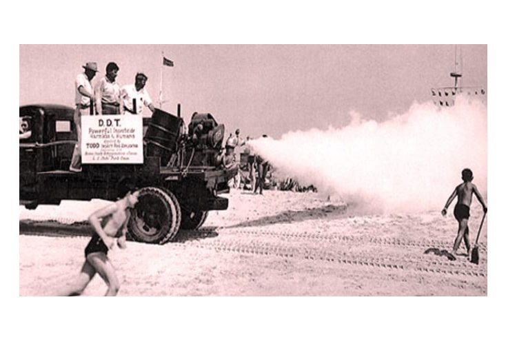 Spraying DDT from a pickup - history of HHPs