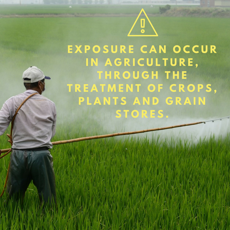 Farm workers spraying field with pesticides