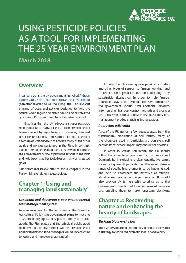 Using pesticide policies as a tool to implement the 25 Year Environment Plan