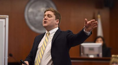 Plaintiff attorney Brent Wisner during his opening statement to the Johnson trial jury | JOSH EDELSON/AFP/Getty Images
