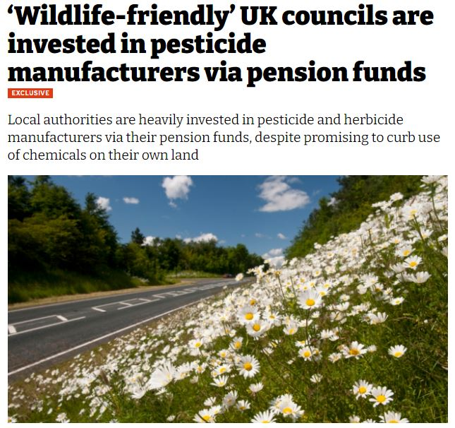 iNews: 'Wildlife-friendly' UK councils are invested in pesticide manufacturers via pension funds