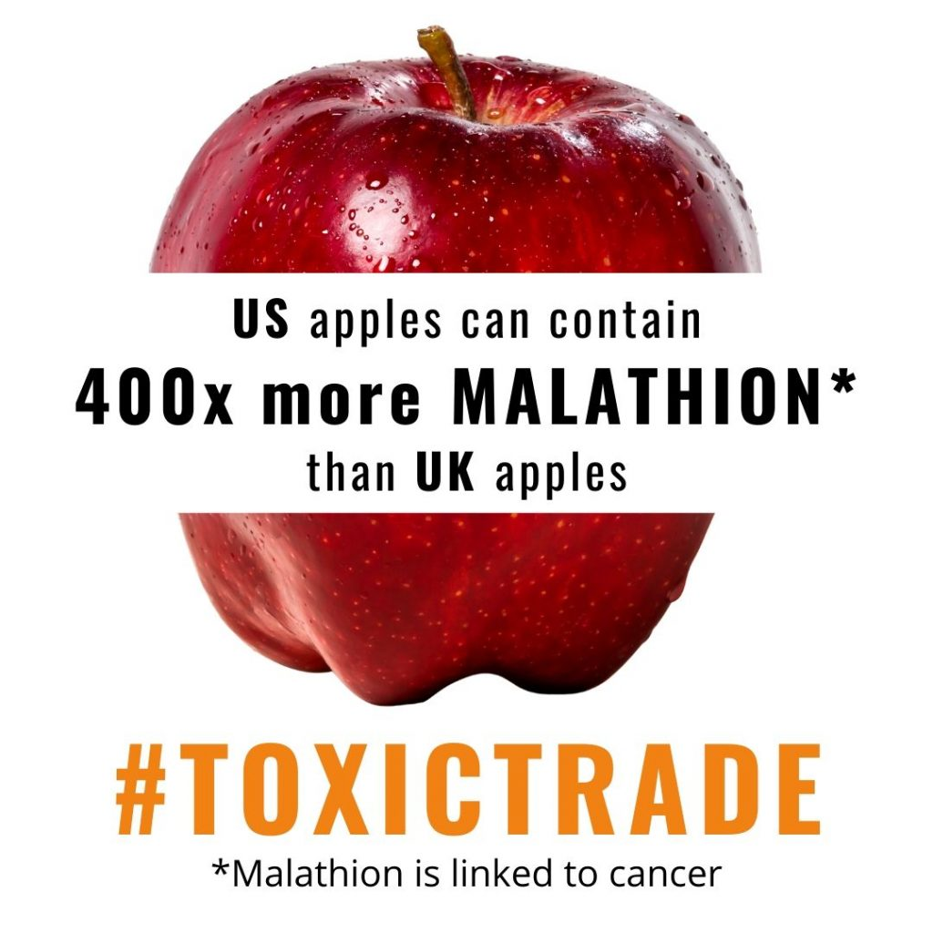 US apples can contain 400 times more malathion than UK apples